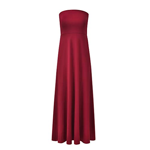 AQUYY Damen Abendkleid, Elegante Zurück Kreuzgurte, Ärmelloses Halfter Kleid, Party Cocktailkleid Red S - Heels Red Chiffon
