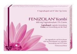 Fenizolan Kombi 600mg Vaginalovulum und 2% Creme, Spar-Set 2x1 Vaginalkapsel und 2x15g Creme. Zur Behandlung von Pilzerkrankungen der Scheide und der Schamlippen (vulvovaginale Candidiasis)