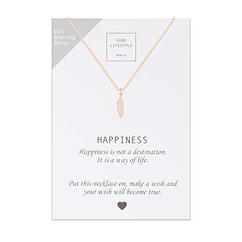 LUUK LIFESTYLE Sterling Silber 925 Halskette mit Feder Anhänger und Happiness Spruchkarte, Glücksbringer, Damen Schmuck, rosé