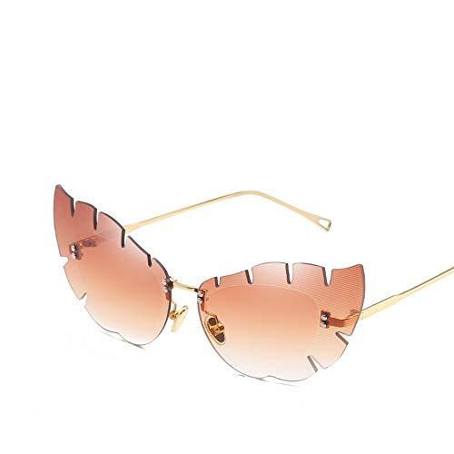 ZHONGYUAN Persönlichkeit Schmetterlings-förmige Cat Eye Sonnenbrille unregelmäßige Linse Mode Dame Sonnenbrille Metall Sonnenbrille, braun