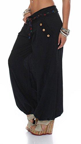 malito Pantaloni alla zuava classico Design Boyfriend Aladin Harem Pantaloni Sbuffo Pantaloni Pump Baggy Yoga 3417 Donna Taglia Unica nero