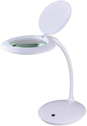 Komerci KML-9101LED-B LED Tisch-Lupenleuchte Lupenlampe 5 Dioptrien 125mm Glaslinse 14W mit Dimmer...