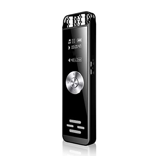 HM2 Dictaphone enregistreur Vocal numérique Double Microphone, enregistreur Audio HD Rechargeable Portable activé par Le Son, Carte de Support TF - Noir,8G