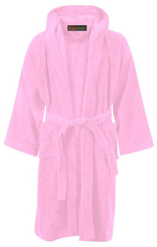 Red Olives Kids Boys Girls Bathrobe 100% Egyptian Cotton Luxury Velour Towelling Hooded Dressing Gown Soft FINE Comfortable Nightwear Terry Towel Bath Robe Lounge WEAR Housecoat