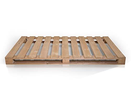 PALETTI Massivholzbett Holzbett Palettenbett Bett aus Paletten – Rustikal gebeizt - 2