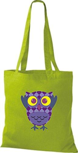 ShirtInStyle Jute Stoffbeutel Bunte Eule niedliche Tragetasche mit Punkte Owl Retro diverse Farbe, lime lime