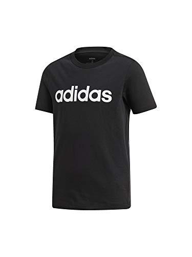 Adidas essentials linear t-shirt, maglietta bambino, nero/bianco, 7-8a