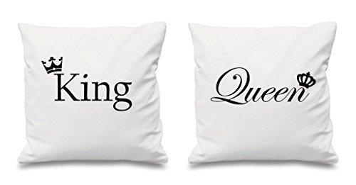 King Und Königin Crown weiß Kissenbezüge 16