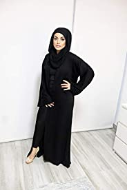 Chic Black Abaya with Intricate Beadwork and Matching Shayla (Scarf), Beautiful Nida Fabric and Excellent Craf