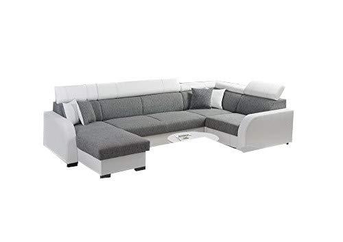 große Ecksofa Sofa Eckcouch Couch mit Schlaffunktion und zwei Bettkasten Ottomane U-Form Schlafsofa Bettsofa - COBBY U (Ecksofa Links, Grau)