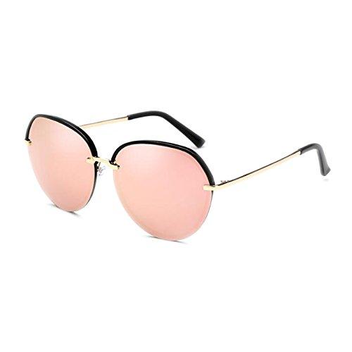 Moolo Sonnenbrille Sonnenbrille Frauen Sonnenbrille Polarisierte Anti-UV Glare UV400 Korean Retro Auge Harajuku Stil Runde Gesicht Großes Gesicht Dünn (Farbe : Pink)