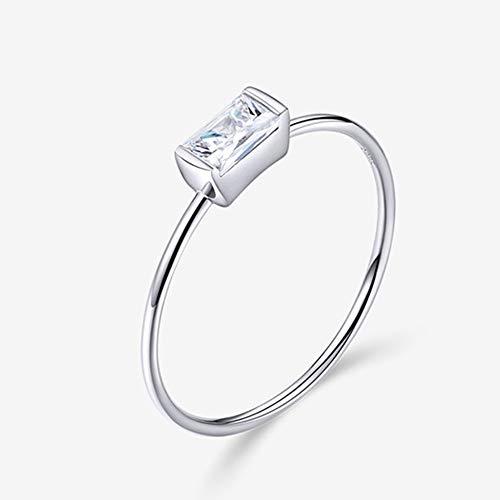 J.Memi\'s Zirkonia Ring 925 Sterling Silber Hochzeit Platiniert Einfach Schmuck Weihnachten Jubiläum, C,No.6