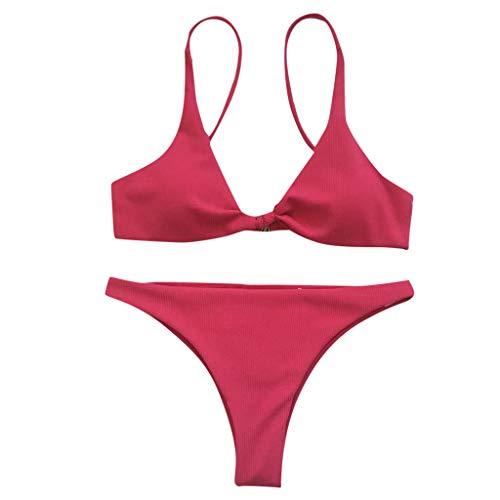 Xuthuly Damen Sexy Zwei Stücke Klassische Solide Knot Bikini Gepolsterte Push-Up BH Verband Draht Kostenloser Split Badeanzug Beachwear Bademode Badeanzug G-String Tanga -