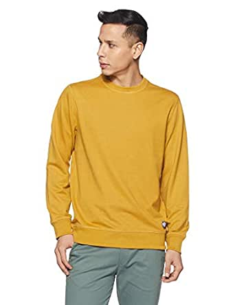 Amazon Brand - Symbol Men's Regular fit Solid Sweatshirt  (AW18MNSSW01H_Amber Gold_X-Large)