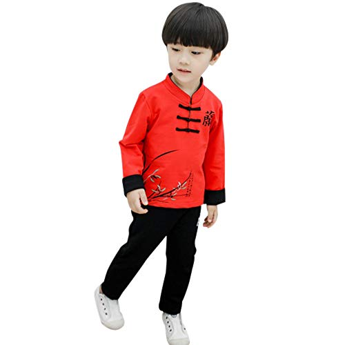 BOZEVON Baby Jungen Frühling Herbst Tang Anzug - Traditionelle Kleidung im Chinesischen Stil Shirt & Hose 2 Teiliges Set, Rot/90