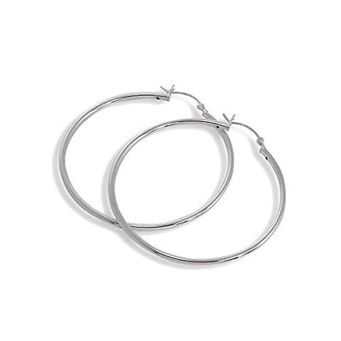 Sterling Silver 2mm Tube 50mm Sleeper Hoop Earrings