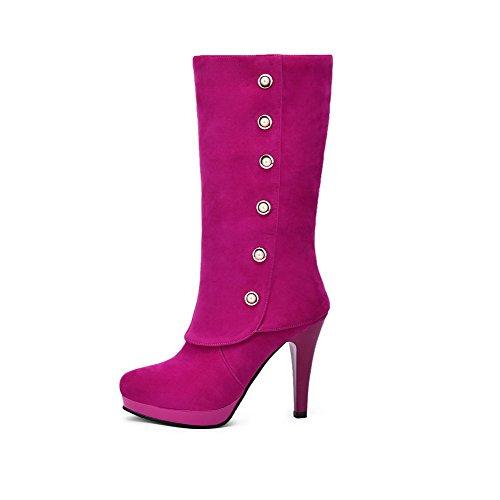 VogueZone009 Damen Hoher Absatz Mattglasbirne Rund Zehe Mitte-Spitze Stiefel mit Juwelen Rosa