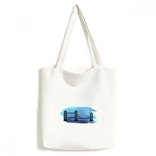 Tower Bridge Londres Angleterre Grande-Bretagne britannique à la mode Motif toile Sac fourre-tout écologique Grande capacité de cadeau Sacs cabas