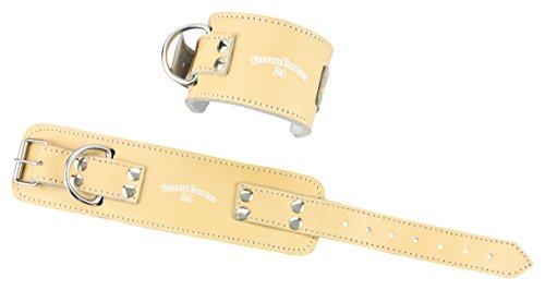 1 Stück Profi Leder Fußschlaufen NATUR mit Verschluss inkl. Karabinerhaken f. Kabelzug, Fußschlaufe