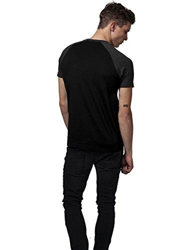 Urban Classics Herren T-Shirt Raglan Contrast Tee Mehrfarbig (Blk/Cha 445)