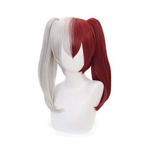 MUZI WIG Shoto Todoroki Cosplay-Perücke mit Perückenkappe für My Hero Academia Cosplay-Perücke, halbe silberfarben, halb-rot - Einfach Halbe Perücke