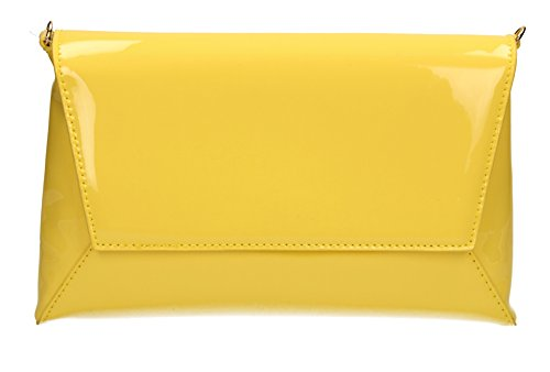 Elise-Sandalo da donna, in pelle verniciata per Night Out PopArtUK-Clutch-SWANKYSWANS Giallo (giallo)