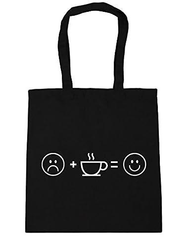 HippoWarehouse Coffee equals happy Tote Shopping Gym Beach Bag 42cm x38cm, 10 litres