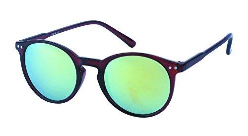 Chic-Net Sonnenbrille rund John Lennon Punkte Vintage Retro 400UV Schlüsselloch Steg türkis-gelb