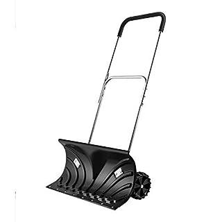 Orientools Heavy Duty Rolling Snow Pusher Manual Push Plow with Extension Steel Handle,Suitable for Walkways, Sidewalks, Stoops, Decks, Patios & More(25