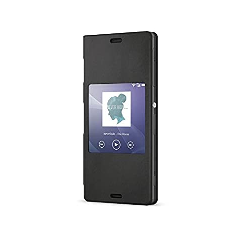 Sony Smart Style Hülle Cover Case Kompatibel mit Xperia Z3 Compact Smartphone - Schwarz