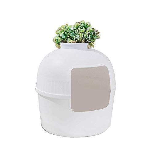 HYCy Katzentoilette, Groszlig; Katze Katzenklo Schrank, Beigefuuml;gt, Abnehmbar, Kann Gruuml;ne Pflanzen Anbauen, Haustier Toilette -