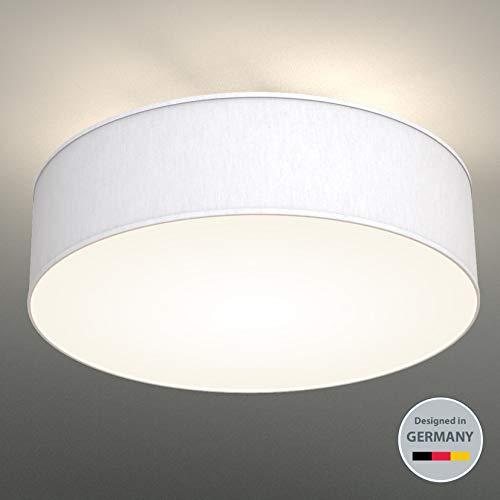 B.K.Licht plafonnier rond design épuré, Ø 400mm, abat-jour tissu blanc, luminaire salon salle à manger chambre couloir, pour 3 ampoules E14 (non incluses)