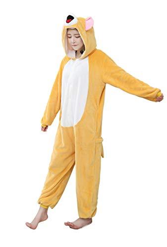 URVIP Neu Unisex Adult Pyjama Cosplay Tier Onesie Body Nachtwäsche Kleid Overall Animal Sleepwear Schlafanzug mit Kapuze Erwachsene Cosplay Kostüm Orange-Maus M (Peter Pan Kostüm Für Erwachsene Weiblich)