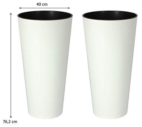 Kreher 2 Stück XXL Pflanztöpfe Tubus Tower in mattem Alpinweiß mit herausnehmbaren Einsatz. Maße BxH in cm: 76,2 x 40 cm. Robust und von Zeitloser Eleganz! Topp
