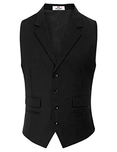 PaulJones Männer Business Ärmellos 4-Tasten Anzug Weste Schwarz Größe S (Wolle Anzug Stoff)