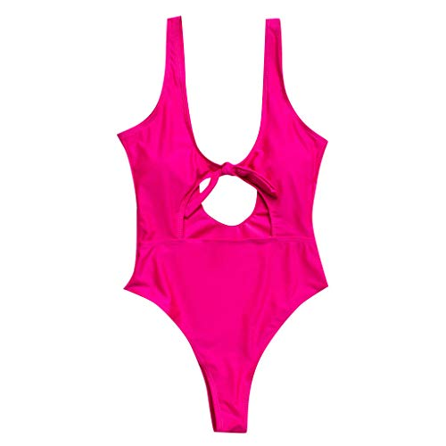 HULKY Damen Arbeiten Reizvollen Einteiler Monokini Strandkleidungs-Badebekleidungs-Push-upbikini-blauen Sterndruckbadeanzug um BH Bikini Bademode Baden(Pink,S)