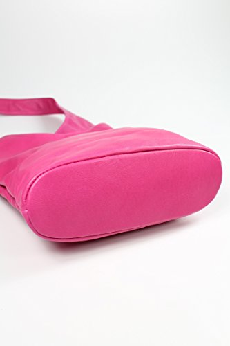 BELLI ital. Umhängetasche Cross Over Bag Damen Ledertasche Handtasche - Farbauswahl - 24x28x8 cm (B x H x T) Pink