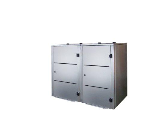 Mülltonnenbox Edelstahl, Modell Eleganza Line2, 120 Liter als Zweierbox