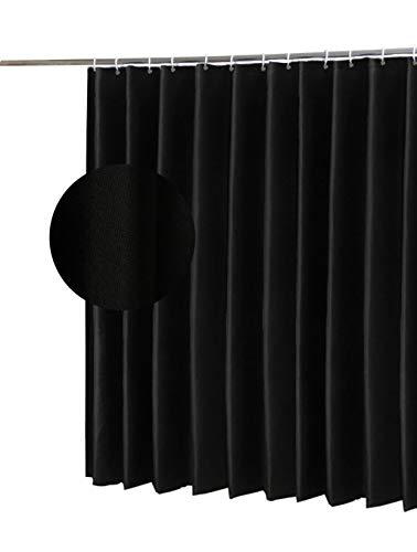 Cortina de ducha impermeable, cortina de baño libre de moho con plástico 12 ganchos, tela de poliéster, ancho 180 x longitud 200 cm (Negro)