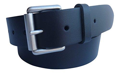 Streeze Cinturón cuero auténtico de 38mm para hombre en negro con hebilla de rodillo de plata hecho en Inglaterra (Negro, XL)
