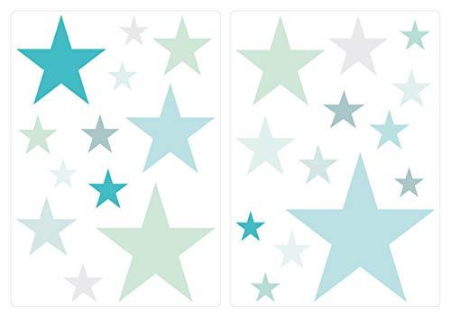 dekodino® Wandtattoo Pastell Sterne in blau und grün 25 Stück Sticker Set -
