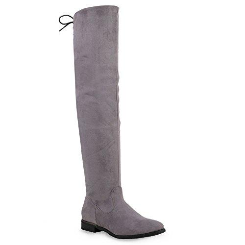 Stiefelparadies Basic Damen Overknees Schleifen Stiefel Samt Flach Langschaftstiefel Overknee Boots...