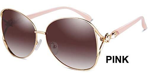 LKVNHP Schwarz Großen Rahmen Oval Metall Sonnenbrille Frauen Polarisierte Trendy Retro Uv400 Mode Fahrer Sonnenbrille WeiblicheWPGJ124 rosa