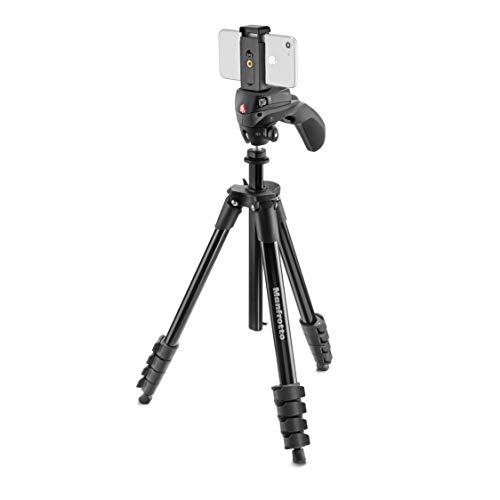 Manfrotto MKSCOMPACTACNBK Compact Action Aluminium Stativ (mit Joystick-Kopf und Smartphone-Halterung für IPhone, Samsung, Huawei, LG, Google Phones, DSLR, Mirrorless, Kompaktkameras) schwarz