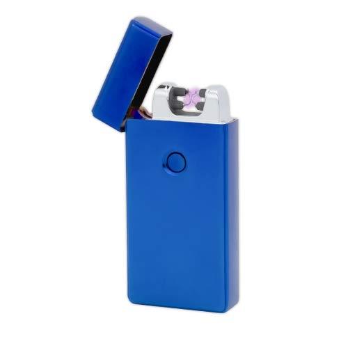 TESLA Lighter T09 | Lichtbogen Feuerzeug, Plasma Double-Arc, elektronisch wiederaufladbar, aufladbar mit Strom per USB, ohne Gas und Benzin, mit Ladekabel, in Edler Geschenkverpackung, Blau