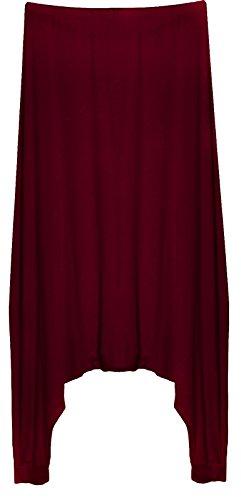 Pantaloni Yoga con Ampio Cavallo Basso - Look sovrapposto - Donna - UK 14-22 / EU 42-50 (Taglia Unica) - Vinaccia Bordeaux