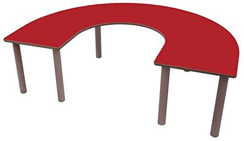 Mobeduc Kinder U Tisch, Holz, Kirsche rot, 150x 100x 59cm
