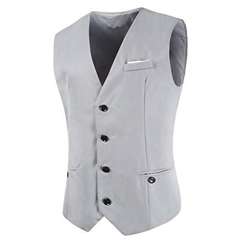 4 Knopf Herren Anzug (AmyGline Herren Weste Anzugweste Slim Fit Mit 4 Knöpfe Tuxedo Smoking Weste Männer Business Casual Anzug Weste)