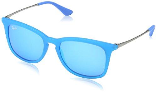 Ray Ban Unisex Sonnenbrille RJ9063S Mehrfarbig (Gestell: Hellblau/Gunmetal, Gläser: Blau Verspiegelt 701155) Medium (Herstellergröße: 48)