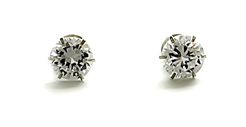 Silverwala 925-92.5 Sterling Silver Brilliant Cut Real Cubic Zirconia Fashion Stud Earrings For Men,Women,Children,Boys and Girls (4.00)